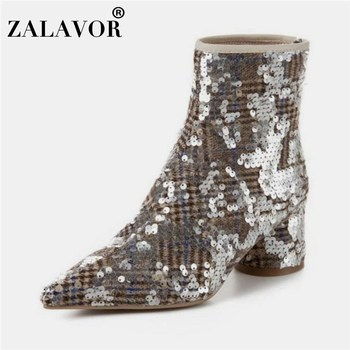 ZALAVOR Women 2020 Bling Fashion Winter Boots Pointed Toe Zipper Stylish Ankle Boots Daily Office Ladies Botas Size 33-40