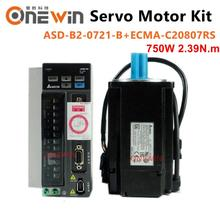 купить new and original 750W 220V AC servo motor drive kit 2.39NM 3000rpm 17bit  ASD-B2-0721-B+ECMA-C20807RS  with 3m cable