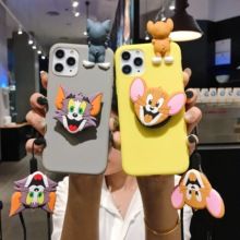 Holder Stand Cat and Mouse stitch Cartoon Case For