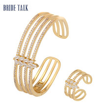BRAUT SPRECHEN Luxus Schmuck Multilayer Gold Armband Dubai Micro Gepflasterte Baguette Cubic Zirkon Einstellbare Armreif Ring Sets Schmuck(China)