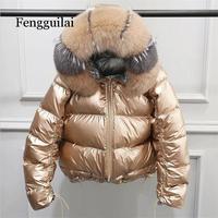 Fake Fox Fur Winter Jacket Women Gold Warm Parka Fur Down Coat Female White Duck Down Jacket Winter Waterproof Overcoat
