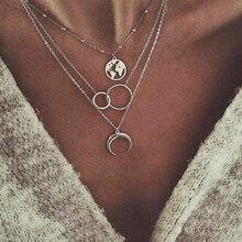 Богемное модное ожерелье с Луной, кулон карта, ожерелье для женщин, ювелирное изделие, земля, колье, многослойное, Bijoux Collares Mujer Collier Femme