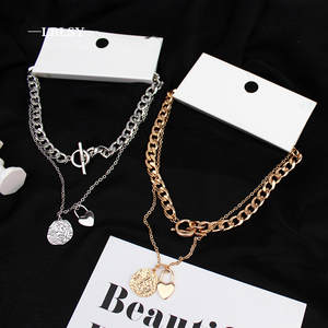 Lock-Necklace Link-Chain Heart-Pendant Cuban Hip-Hop Steel Multi-Layer Gold-Color Exaggerated