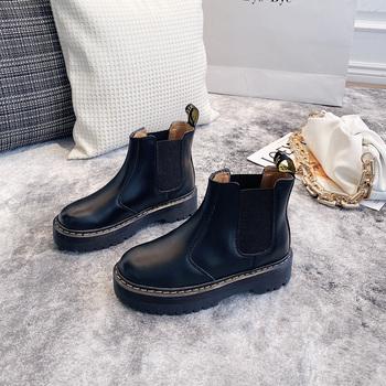 2020 jesienne i zimowe nowe damskie buty z grubej podeszwy Chelsea damskie buty modne modne na co dzień wysokie wodoodporne buty tanie i dobre opinie SPCN PROJECTX CN (pochodzenie) Mikrofibra Połowy łydki Szycia Stałe RL0093 Dla dorosłych Mieszkanie z Chelsea Buty Krótki pluszowe