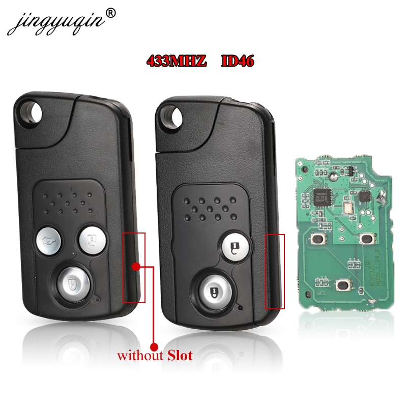 jingyuqin 2/3 Buttons <font><b>Remote</b></font> Key Fob 433MHZ ID46 Chip For <font><b>Honda</b></font> CRV Accord Civic Odyssey Intelligent Smart <font><b>Keyless</b></font> Entry Control image