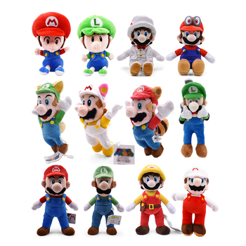 7 inches 18cm super mario bros koopa bowser plush toys with tag high quality gift for children Super Mario Bros Luigi Plush Toys Super Mario Stand Mario Brother Stuffed Toys Soft Dolls Gift For Children High Quality