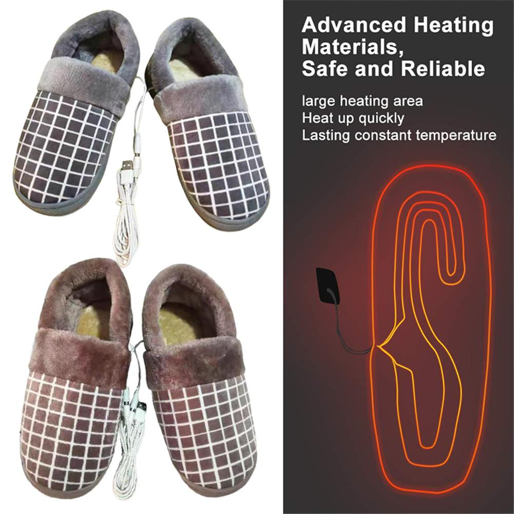 USB Heating Slippers Shoes Cotton USB Rechageable Warm Shoes Comfortable Plush Slippers For Cold Winter #D0