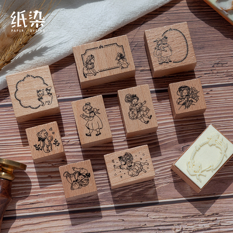 Retro Dream Moon Series Decoration Dialog Box Stamp Wooden Rubber Stamps For Scrapbooking Stationery DIY Craft Standard Stamp