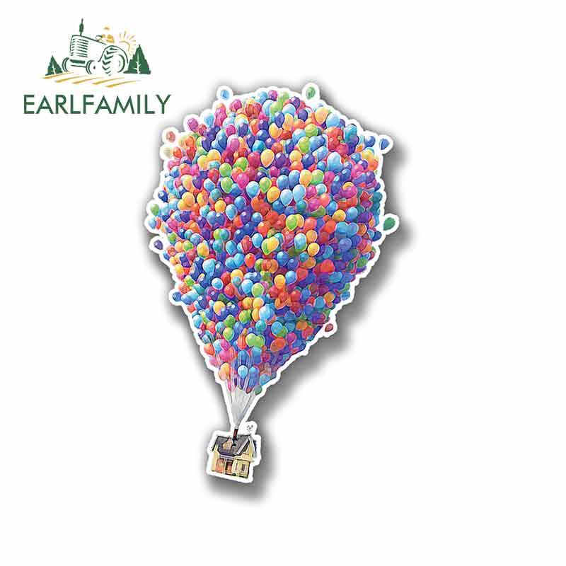EARLFAMILY 13cm X 8.3cm For Up Pixar Movies Balloons Vinyl Car Wrap Creative Stickers Car Graphic Decal Repair Sticker