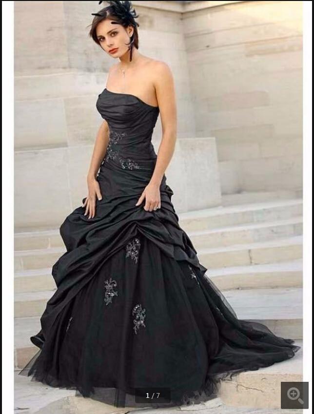 Black Gothic A-line Wedding Dresses 2020 Strapless Taffeta Ruched Non White Vintage Corset  Wedding Gowns Robe De Mariee