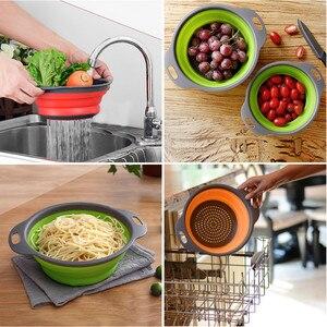 Image 2 - Colador plegable de silicona para frutas y verduras, cesta de lavado, colador, escurridor plegable con utensilios de cocina con mango