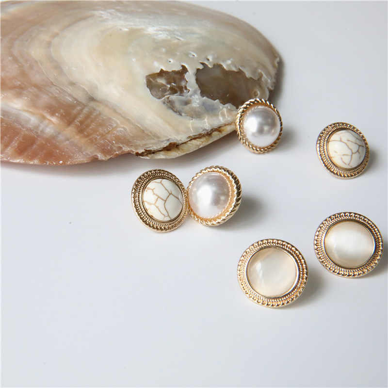 2019 Japan New Vintage Round Marble Opal Stone Big Stud Earrings for Women Fashion Temperament Simulated Pearl Brinco