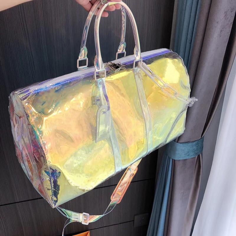 Laser Colorful KEEPALL Travel Bag Brand Luxury Monogram PVC Hand Luggage Bag Large Capacity Package Women Men New Fashion Bag