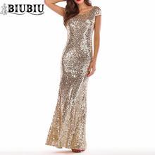 BIUBIU Backless Women Sequined Maxi Dress Solid Gold O-neck Short Sleeve Party Woman Gown Evening Vestido De Fiesta