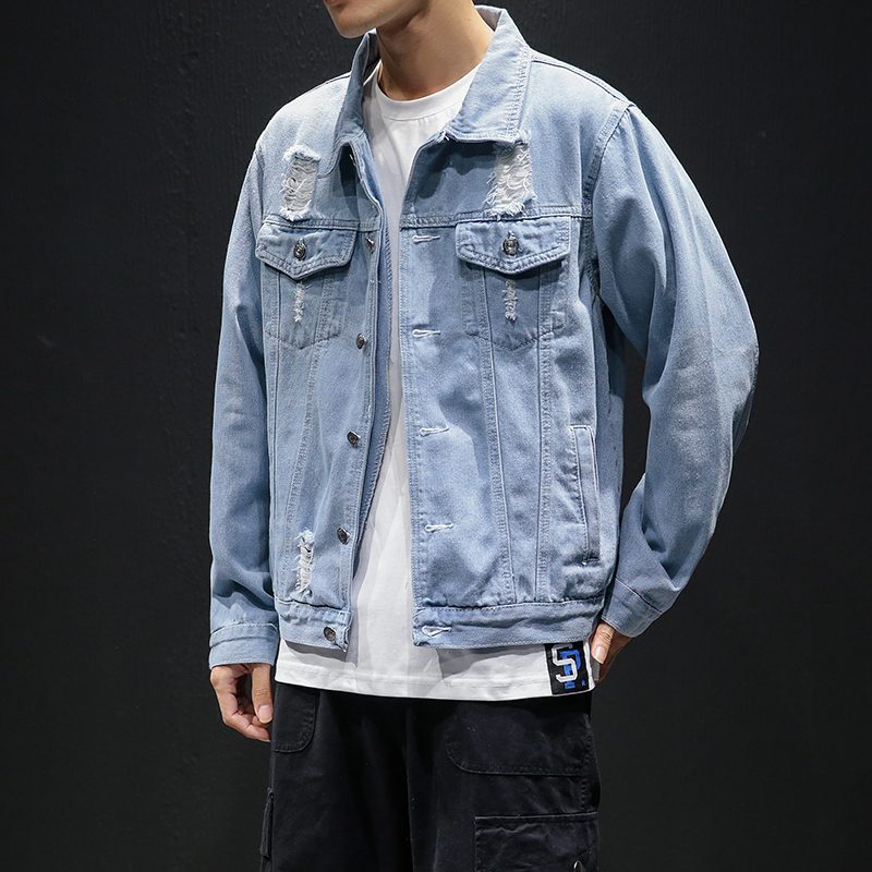 Men Light Blue Denim Jackets Holes Jean Male Jackets Clothing Leisure Coats Mens Cotton Outwear Jeans Jackets Plus Size Outwear