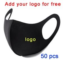 50PCS Wholesale Washable Earloop Face Breathing Mask Cycling Anti Dust Environmental Mouth Mask Respirator Fashion Black Mask