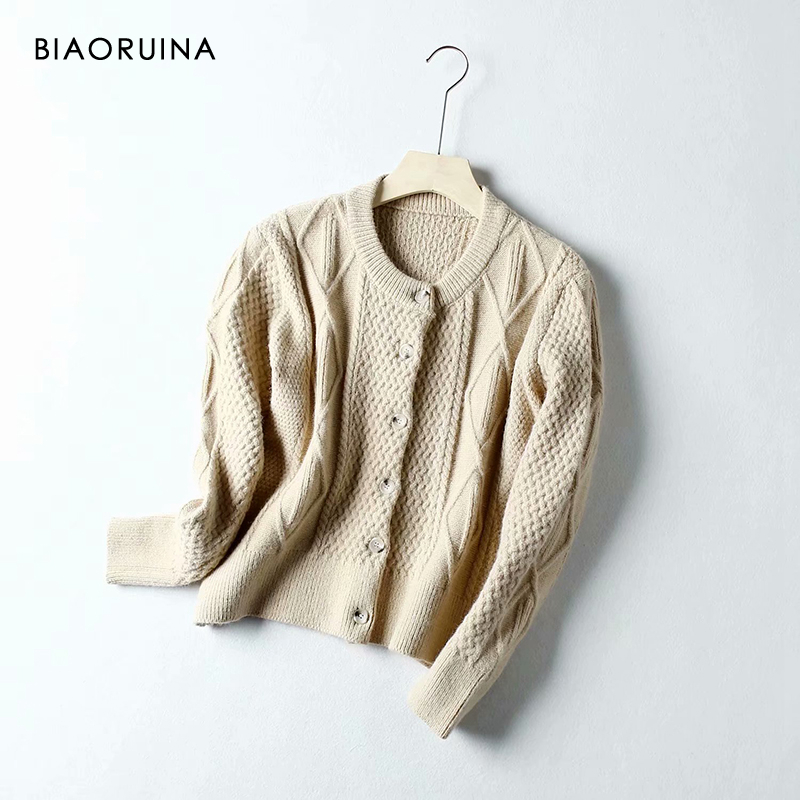 BIAORUINA 4 Colors Women's Single Breasted Solid Knitted Cardigans O-neck Female Winding Loose Fashion Sweater One Size