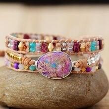 Novo romântico couro wrap pulseiras pedra nautural multicamadas strand pulseira teengirl bijoux dropshipping