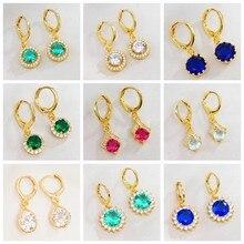 Atacado/bluk brincos de ouro redondo circel moda cz cristal gota/balançar brincos para as mulheres nova chegada jóias 6 estilos