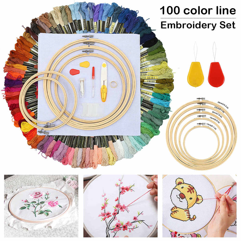 Embroidery Thread Starter Set Fabric Hoop Cross Stitch Craft Tool Needles Kit 9