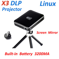 X3 DLP Pocket projector Linux OS wired connect with android phone iphone HDMI USB battery digital beamer home video projector