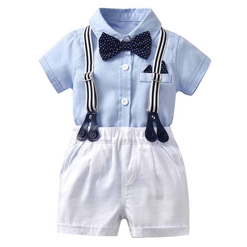 Wholesale Newborn Baby Boy Bow Outfit Set Formal Gentleman Suit For Summer Clothes Romper + White Shorts