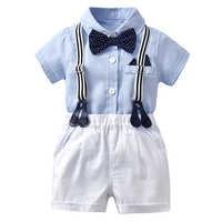Conjunto de traje de lazo para bebé recién nacido, traje Formal de caballero, ropa de verano, pelele + Pantalones cortos blancos, venta al por mayor