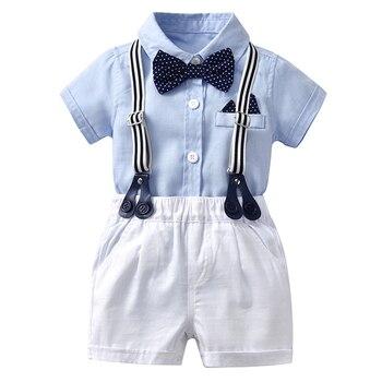 newborn infant baby boy wedding formal suit bowtie gentleman romper outfit 0 24m Wholesale Newborn Baby Boy Bow Outfit Set Formal Gentleman Suit for Summer Clothes Romper + White Shorts