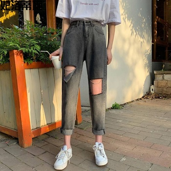 2020 New Women Straight Jeans High Wasit Ankle-Length Denim Cotton Streetwear Hole Dark Gray Clothing