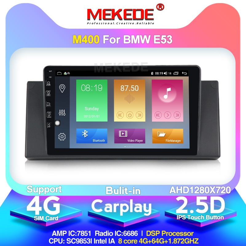 Mekede android10.0 4G+64G Car Multimedia Player Radio GPS Navigation for <font><b>BMW</b></font> 5 series <font><b>E39</b></font> X5 E53 Built-in DSP IPS carplay 4g lte image