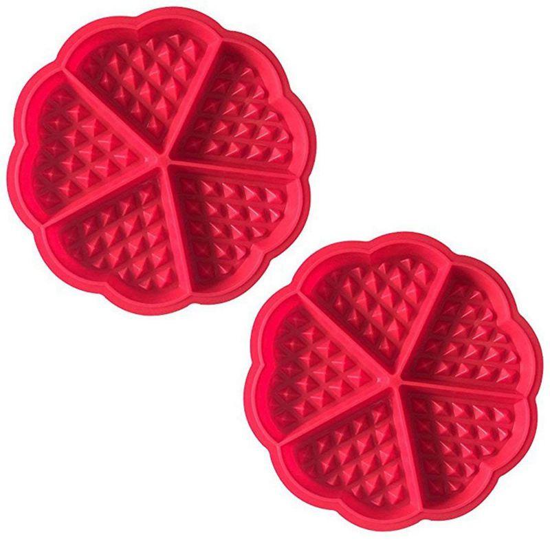 2 X Waffle Mold Waffle Baking Mold Silicone Baking Mold Baking Pan With Good Non-Stick Coating Red