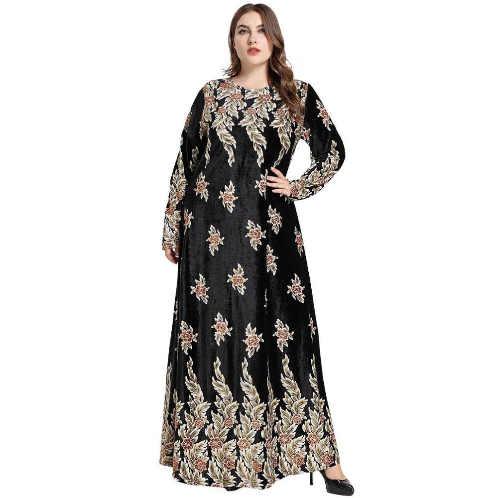 Robe Maxi musulmane bronzant imprimé velours Abaya islamique arabe Abayas robe à manches longues robes de dubaï robe de soirée M-4XL