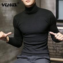 Новинка, зимний мужской свитер с высоким воротом, черный сексуальный брендовый вязаный пуловер, мужской однотонный Повседневный свитер, осенняя вязаная одежда