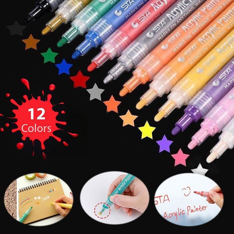 12pcs/set Bright Colorful Waterproof Metallic Manga Acrylic Painter Marker Art Markers Pen Paint Pens For DIY Drawing Highlight