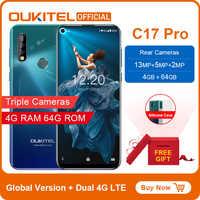 """OUKITEL C17 Pro 6.35 """"19.5: 9 Android 9.0 telefon komórkowy MTK6763 octa core 4G RAM 64G ROM podwójne 4G LTE tylne potrójne kamery Smartphone"""