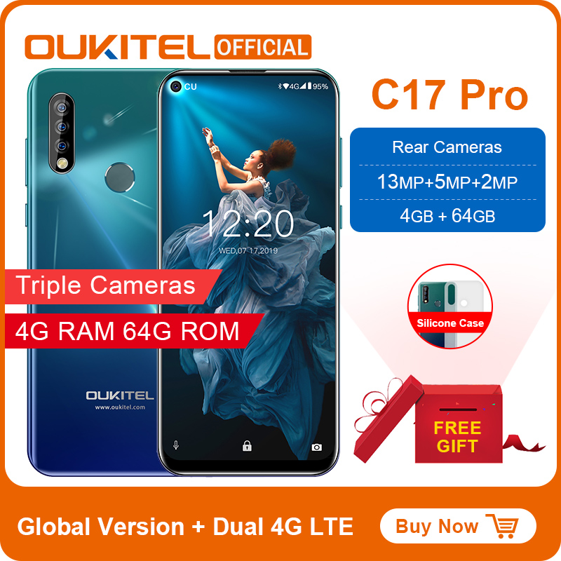 "OUKITEL C17 Pro Smartphone 6.35""19.5:9 Android 9.0 MTK6763 Octa Core 4G RAM 64G ROM Dual 4G LTE Rear Triple Cameras Mobile Phone(China)"