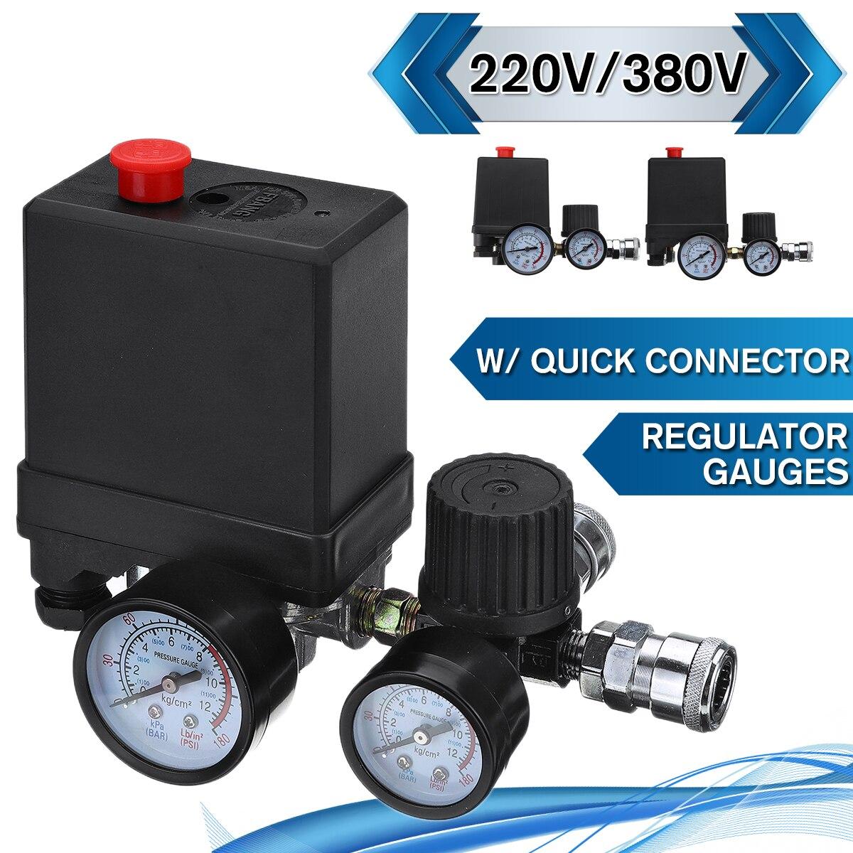 Воздушный компрессор насос переключатель контроля давления 4 порта 220В/380В регулятор сброса коллектора 30 120PSI контрольный клапан с манометромПневматические компоненты    АлиЭкспресс