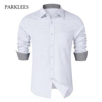 White Shirts Men 2020 Autumn Long Sleeve Shirts Business Work Mens Dress Shirt Inner Neck Plaid Casual Button Up Slim Camisas button up long sleeve plaid shirt