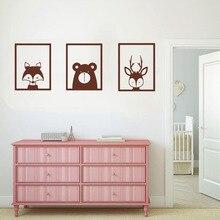 3pcs/Set Nordic Style Fox Deer Bear Wall Sticker Cute Animal Home Decor Woodland Animals Zoo Kids Bedroom Decoration Decals W759