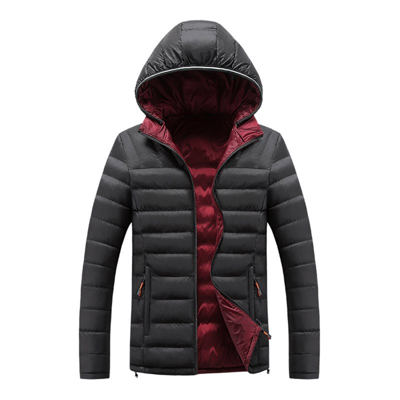 Men Solid Color Down Jacket Moto & Biker Warm Plus Velvet Thick Heated Jacket School Casual Hooded Coat Wear On Both Sides Coat