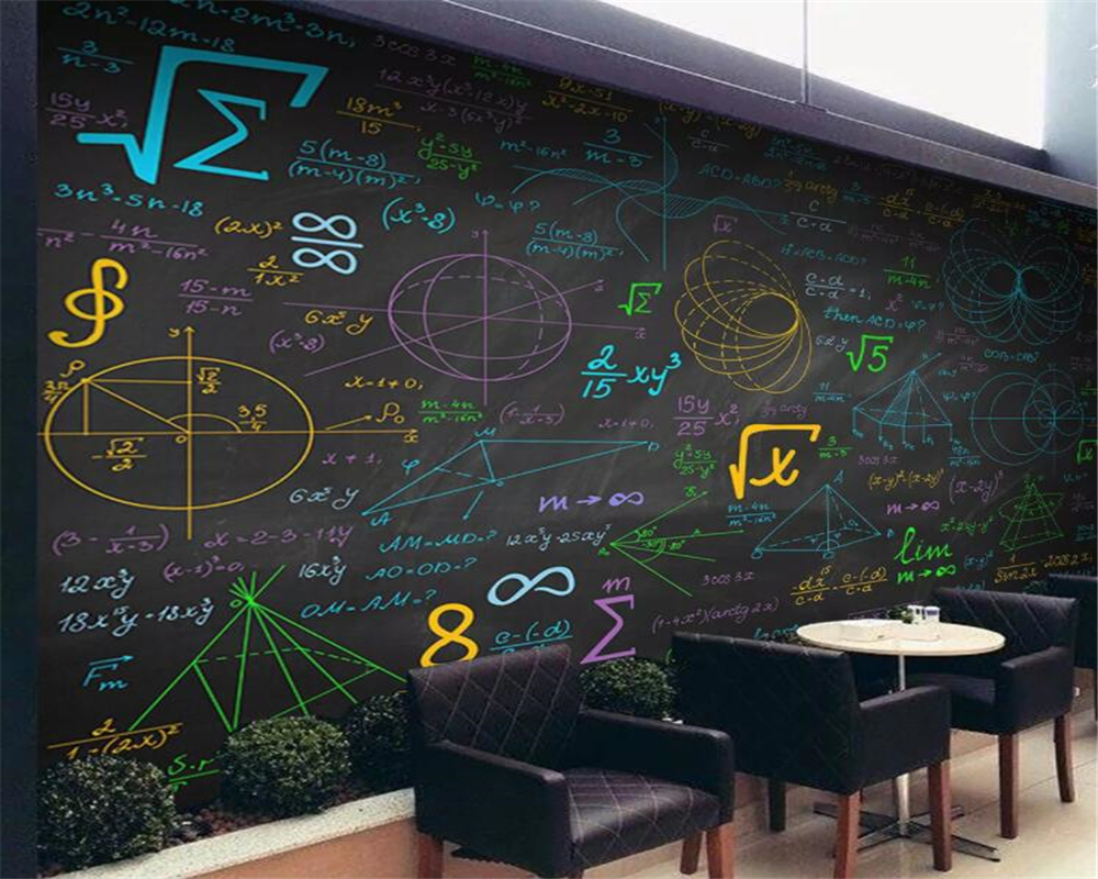 Beibehang Custom Wallpaper Math Formulas Color Chalk Blackboard Background Walls 3d Wallpaper Mural Papel De Parede