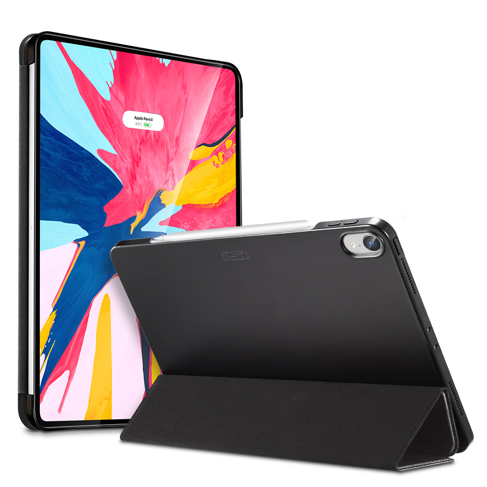 Mysterious Black Multi-color PU and Transparent Back Ultra Slim with Trifold Smart Case for iPad Pro 11 2018 A2013, A1934, A1979, A1980