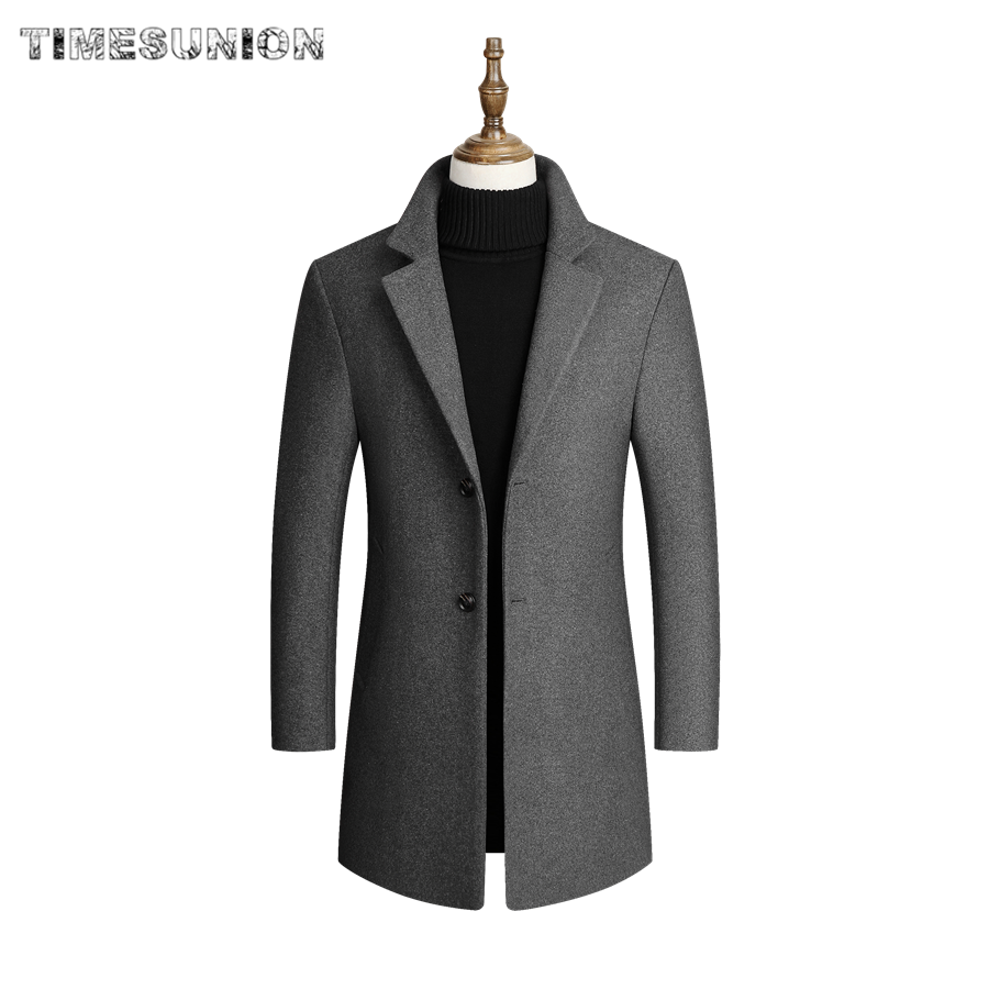 Mens Clothes High Quality Men Wool Blends Coats Men's Long Section Slim Fit Trench Tops Winter New Male Wool Blends Coat