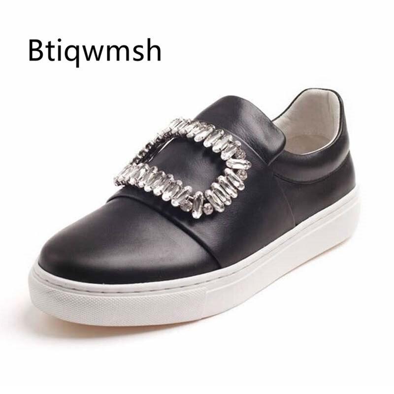 2019 preto de couro real strass praça fivela mocassins sapatos mulher dedo do pé redondo fundo grosso sapatos planos mulher moda vestido sapatos