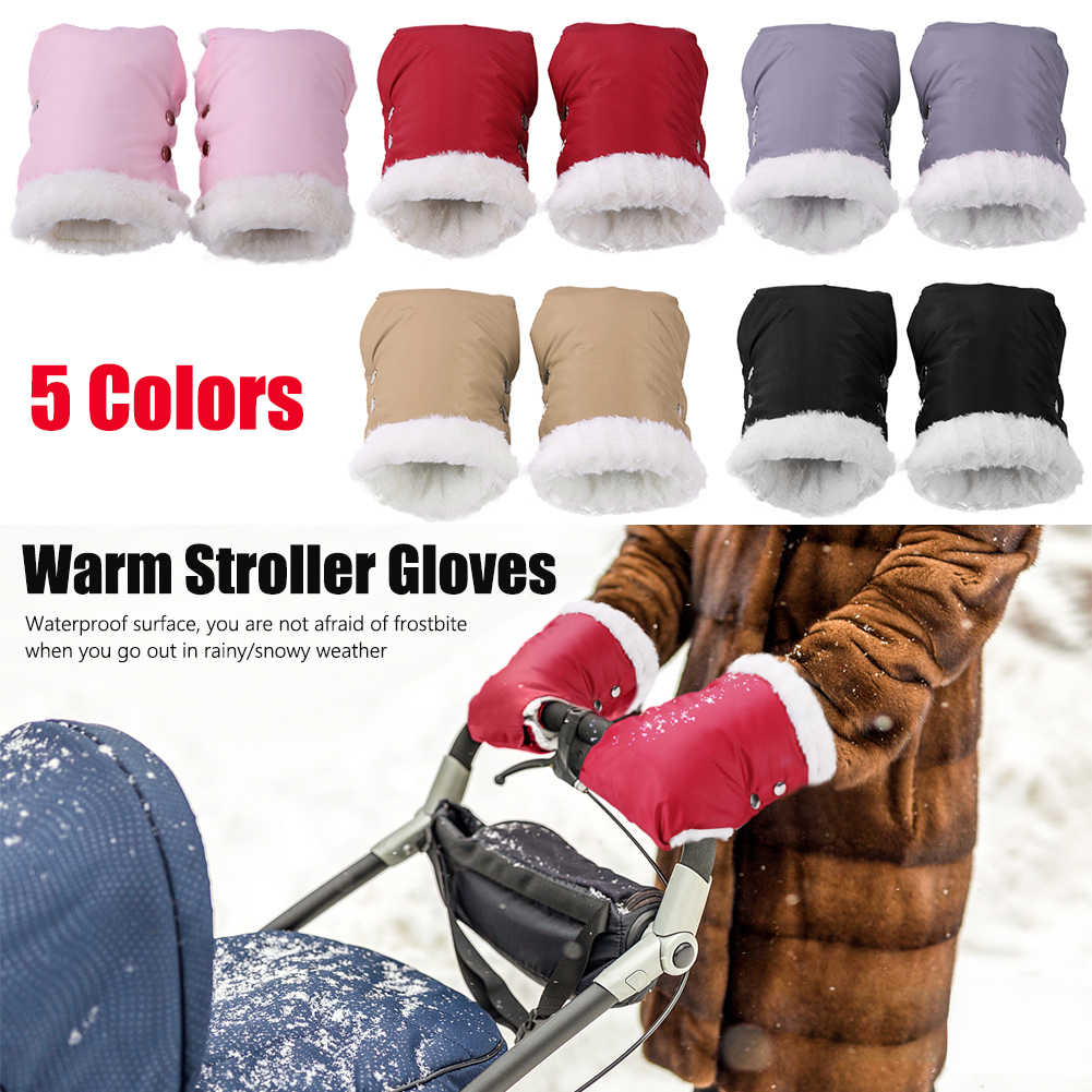 Baby Buggy Clutch Cart Muff Glove 2x Windproof Warm Stroller Gloves Waterproof Baby Pram Fleece Hand Muff Mittens
