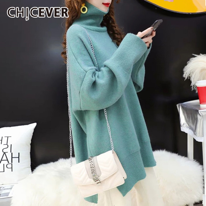 CHICEVER Korean Knitted Sweater Women Turtleneck Lantern Long Sleeve Oversize Pullover Sweaters Female 2020 Autumn Fashion New