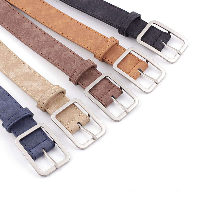 2019 Square Pin Buckles Belts Women Silver Buckle Leather Belts For Jeans Retro Wild Belts For Women Waistbands Students Strap