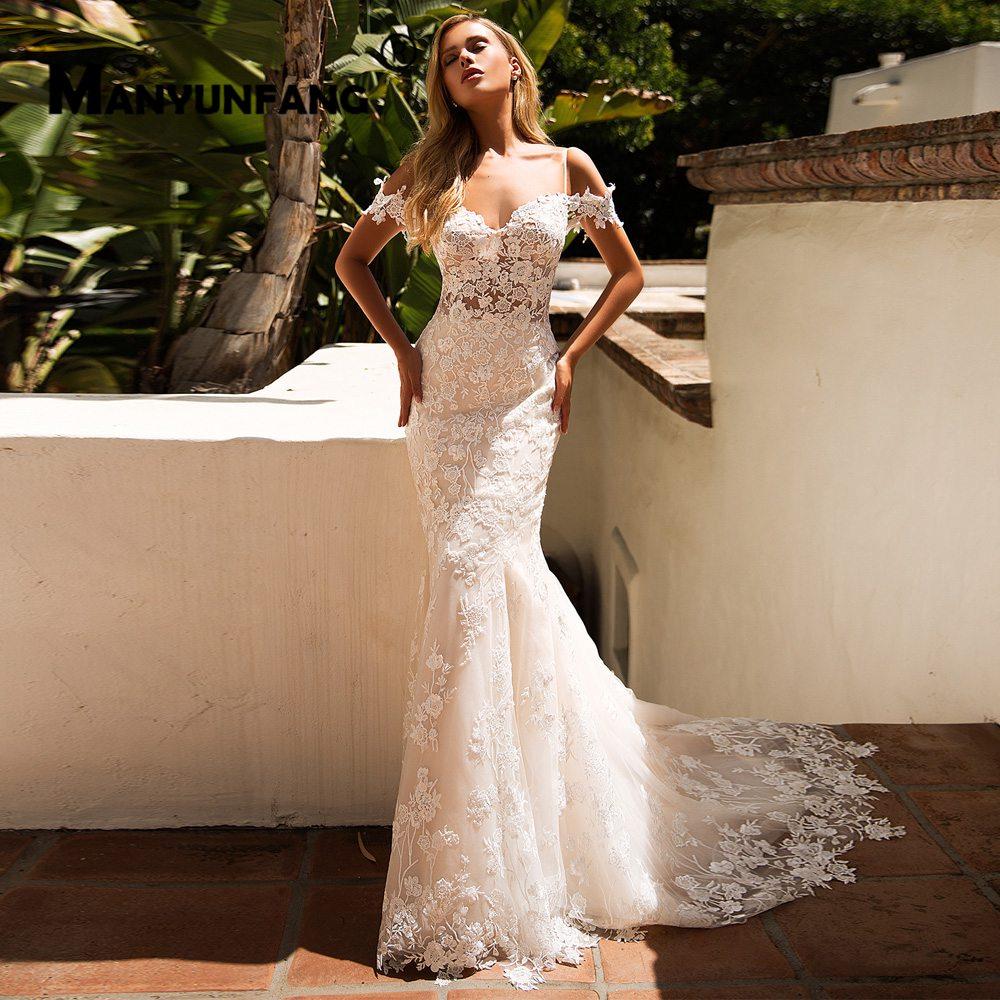 Spaghetti Straps Vintage Lace Appliques Mermaid Wedding Dresses Chapel Train Wedding Gowns Bridal Dress Sheer Robe De Soiree