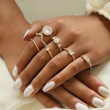 VAGZEB 7pcs/set Gold Color Crystal Knuckle Ring Set Bohemian Geometric Flower Female for Woman