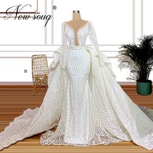 Image 1 - Kralen Dubai Trouwjurken 2020 Luxe Illusion Mermaid Arabisch Bruidsjurk Kaftans Diepe V hals Lange Trein Bruid Jurk Vestido